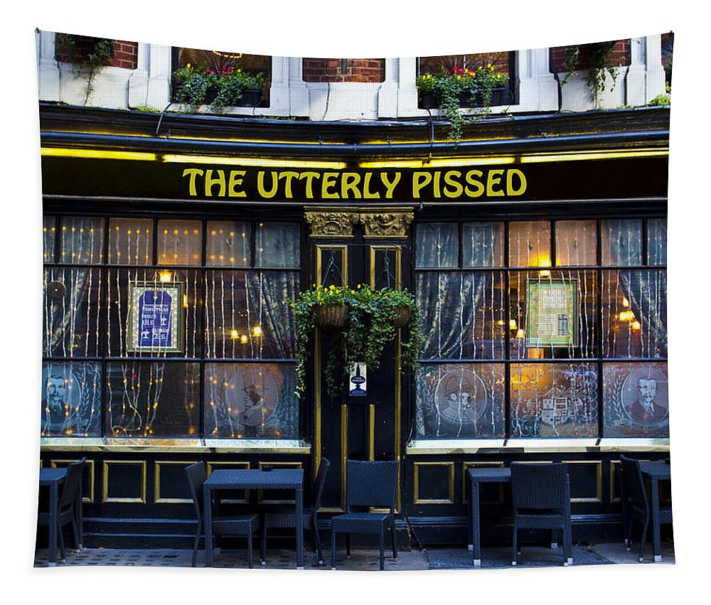 Pissed Tapestry featuring the photograph The Utterly Pissed Pub by David Pyatt
