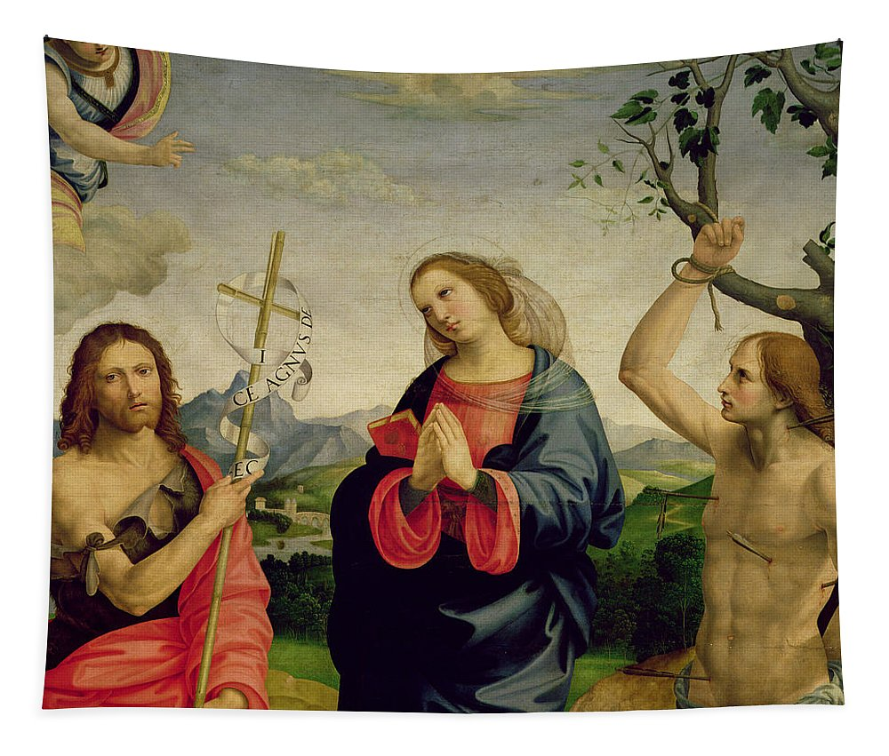 Viti Tapestry featuring the painting The Virgin With Saints Sebastian And John The Baptist by Timoteo Viti