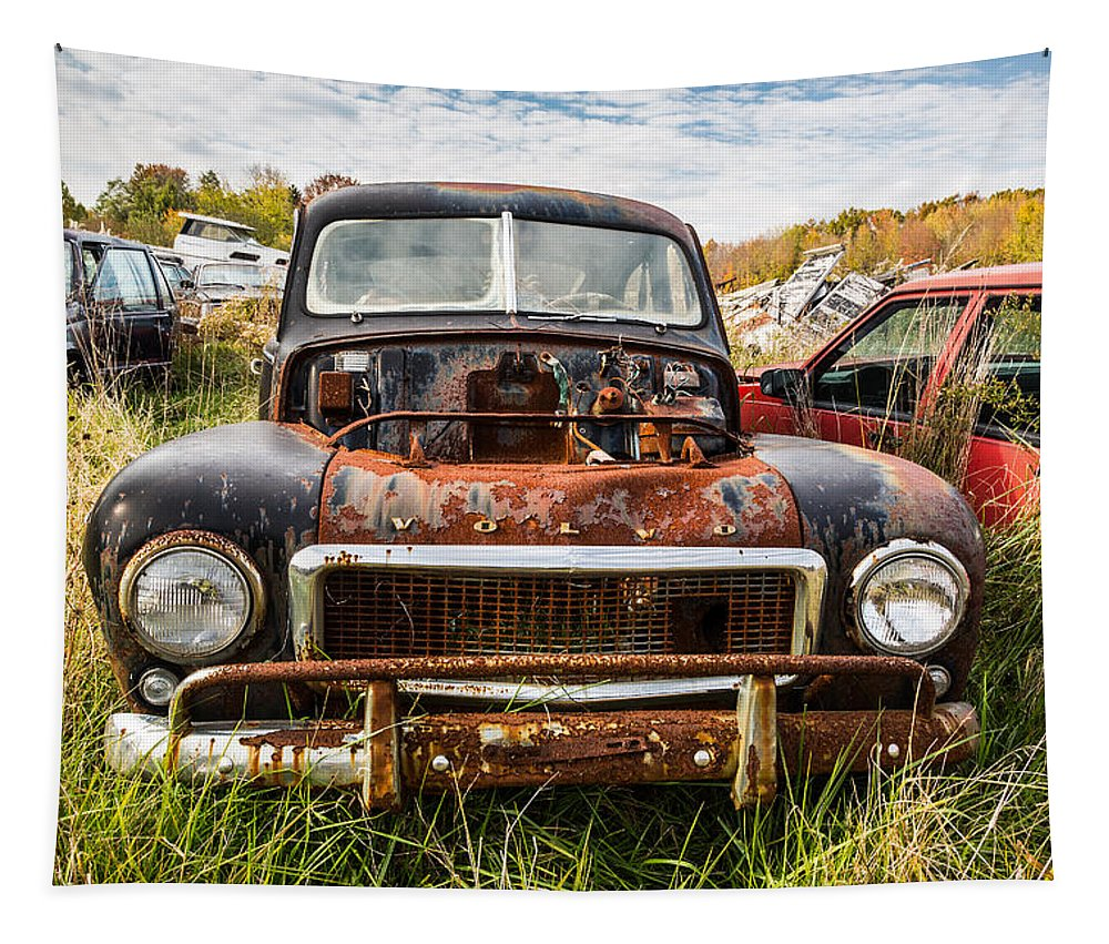 The Volvo Junkyard Tapestry featuring the photograph The Volvo Junkyard by Dale Kincaid