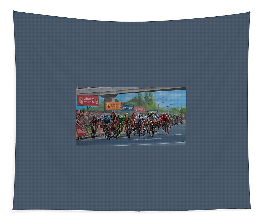 The Vuelta Tapestry featuring the painting The Vuelta by Paul Meijering