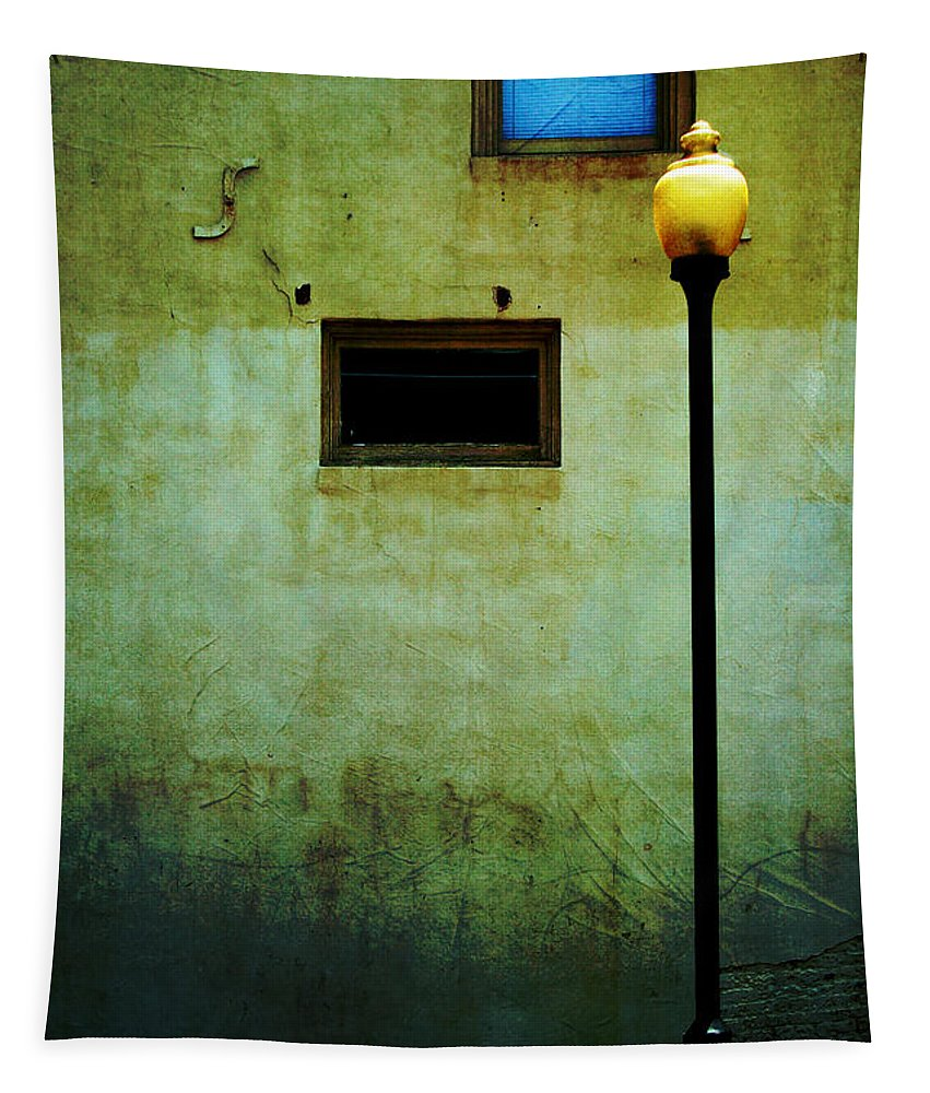 Lamppost Tapestry featuring the photograph The Wall And The Lamppost by Kathleen K Parker