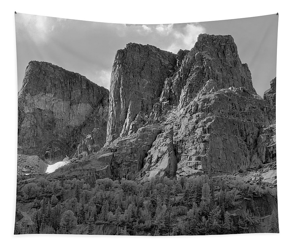 The Watchtower Tapestry featuring the photograph 209619-bw-the Watchtower, Wind Rivers by Ed Cooper Photography