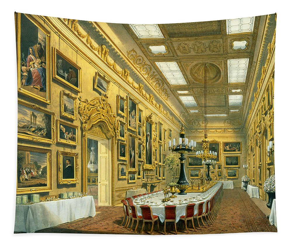 Picture Gallery Tapestry featuring the drawing The Waterloo Gallery, Apsley House by Richard Ford