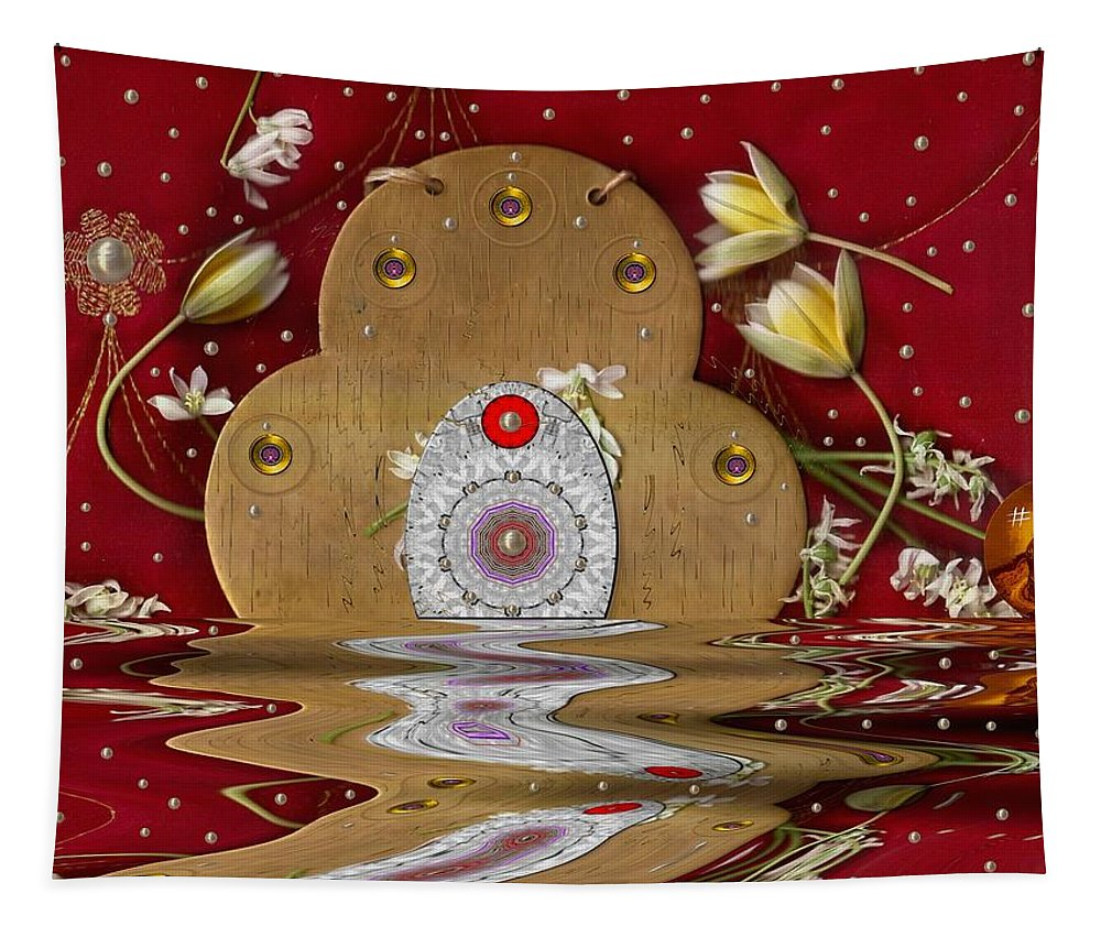 Landscape Tapestry featuring the mixed media The Way To Heavens Gate by Pepita Selles