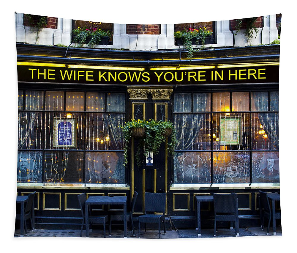 Wife Tapestry featuring the photograph The Wife Knows Pub by David Pyatt