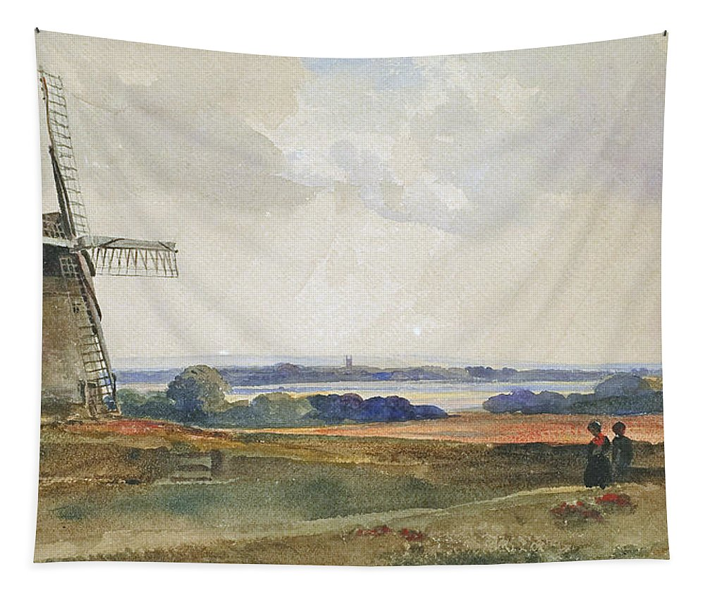Peter De Wint Tapestry featuring the painting The Windmill by Peter de Wint
