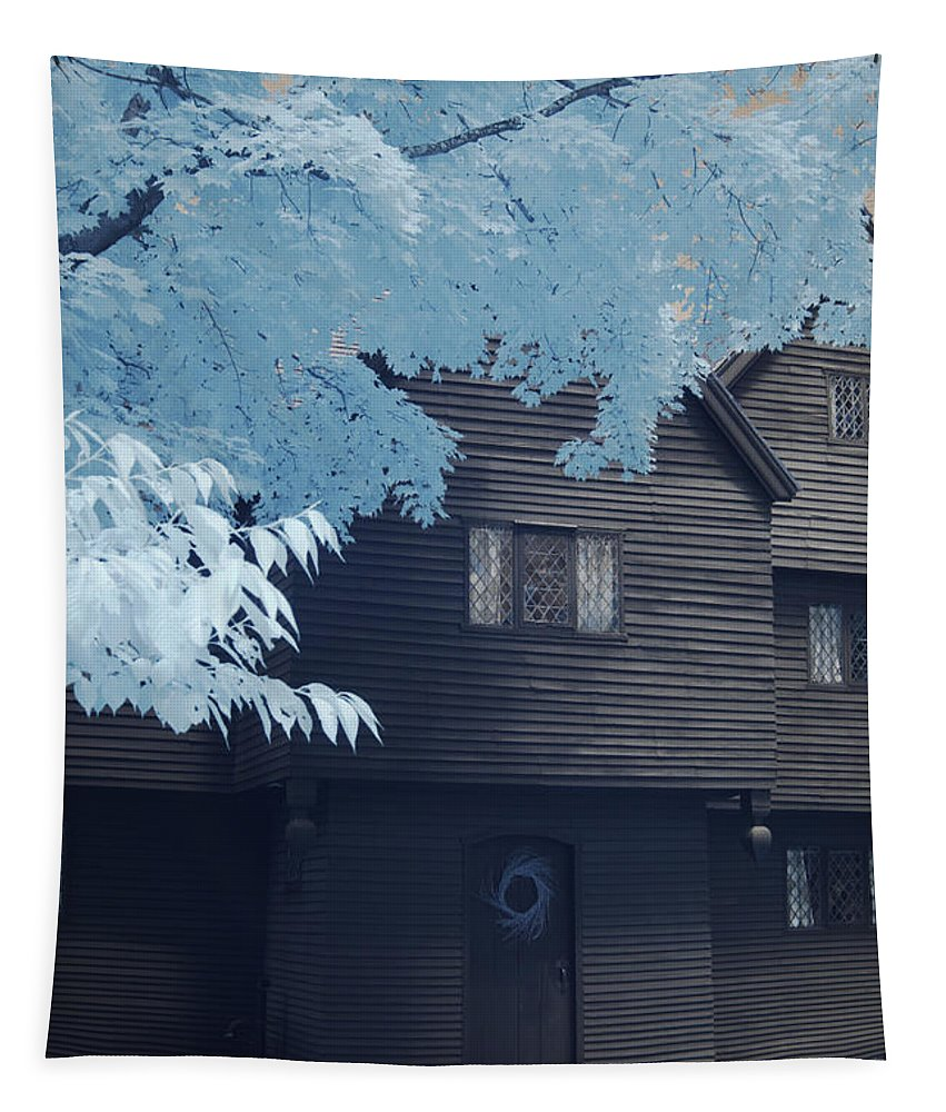 Salem Tapestry featuring the photograph The Witch House In Infrared by Jeff Folger