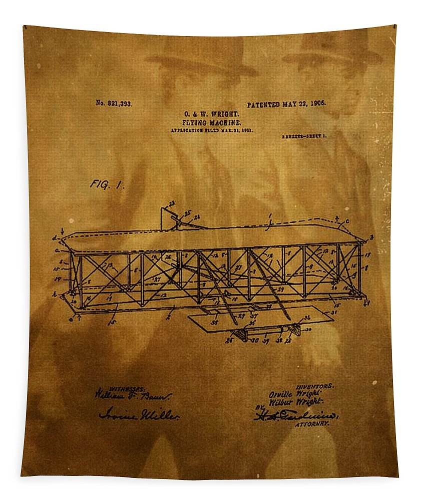 The Wright Brothers Airplane Patent Tapestry featuring the photograph The Wright Brothers Airplane Patent by Dan Sproul