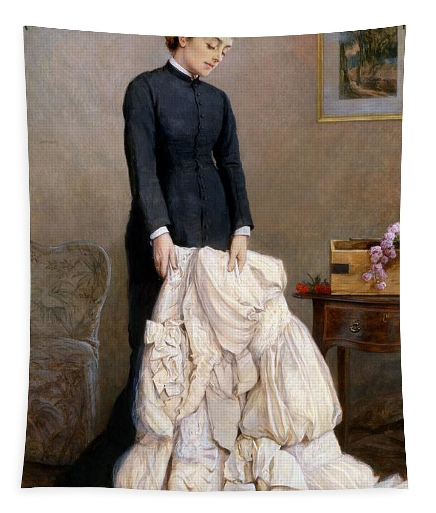 Young Tapestry featuring the painting The Young Widow, 1877 by Edward Killingworth Johnson