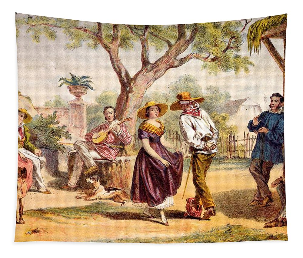 Cuba Tapestry featuring the drawing The Zapateado - National Dance, 1840 by Federico Mialhe