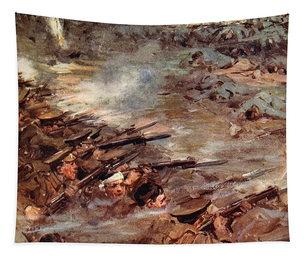 World War I Tapestry featuring the painting Their Men Advanced In Dense Masses by Cyrus Cuneo