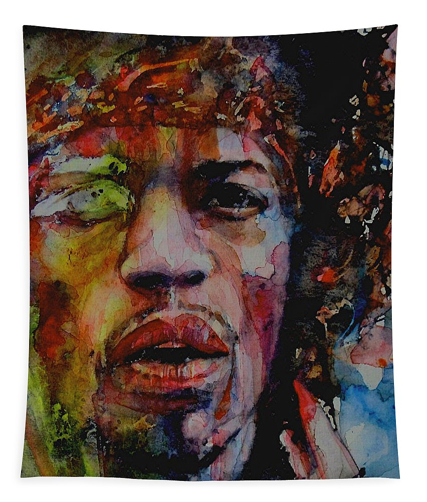 Hendrix Tapestry featuring the painting There Must Be Some Kind Of Way Out Of Here by Paul Lovering