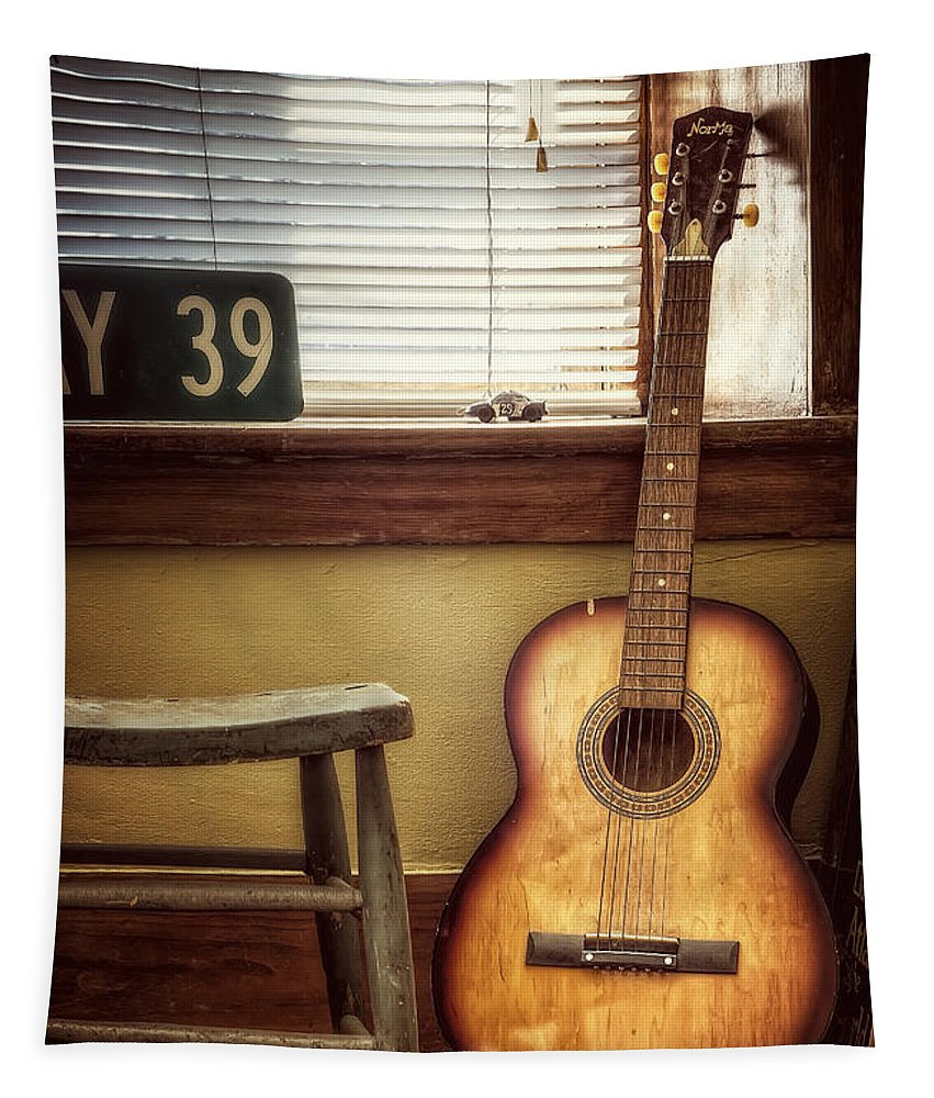 Guitar Tapestry featuring the photograph This Old Guitar by Scott Norris
