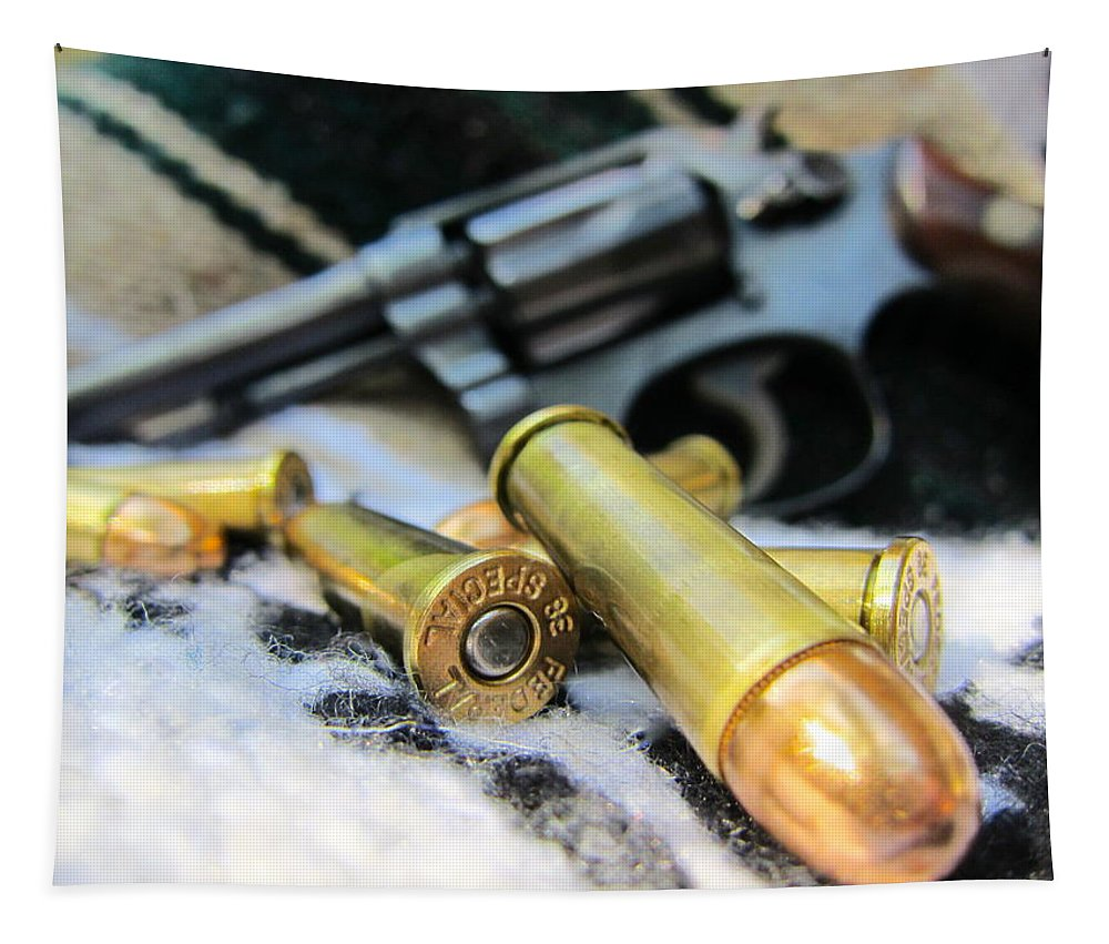 Pistol Tapestry featuring the photograph This One's For You. by Alan Metzger