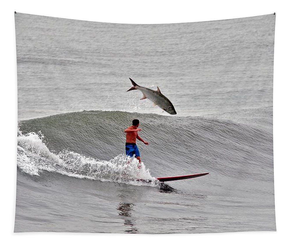Surfer Tapestry featuring the photograph This Was My First Pee Shot by Davids Digits