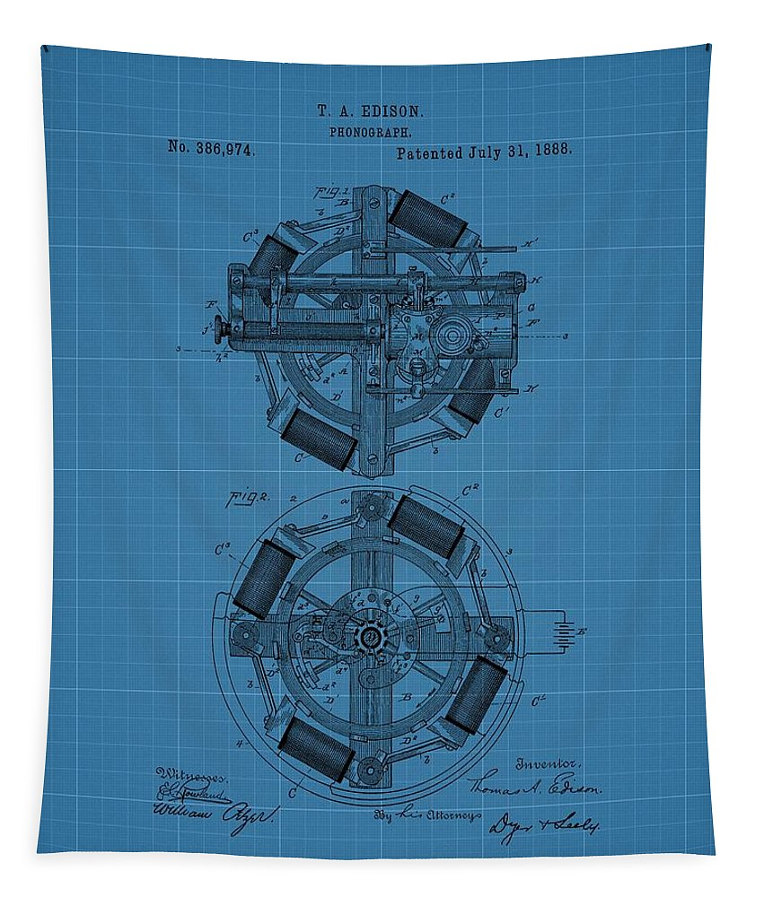 Thomas Edison's Phonograph Tapestry featuring the drawing Thomas Edison Blueprint Phonograph by Dan Sproul