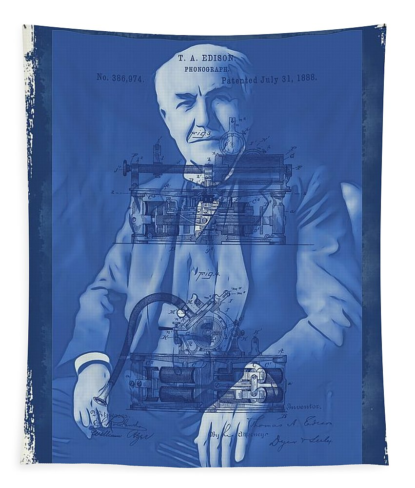 Thomas Edison's Phonograph Tapestry featuring the mixed media Thomas Edison by Dan Sproul