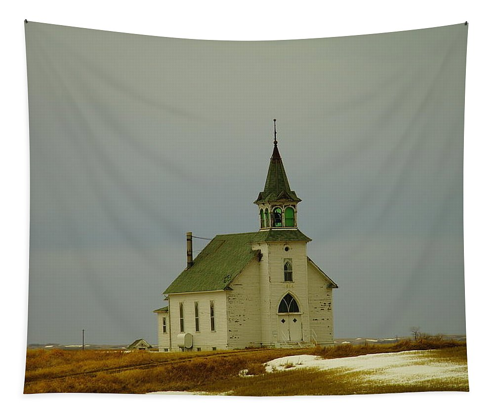 Churches Tapestry featuring the photograph Those Old Hymns On A Snowy Day by Jeff Swan