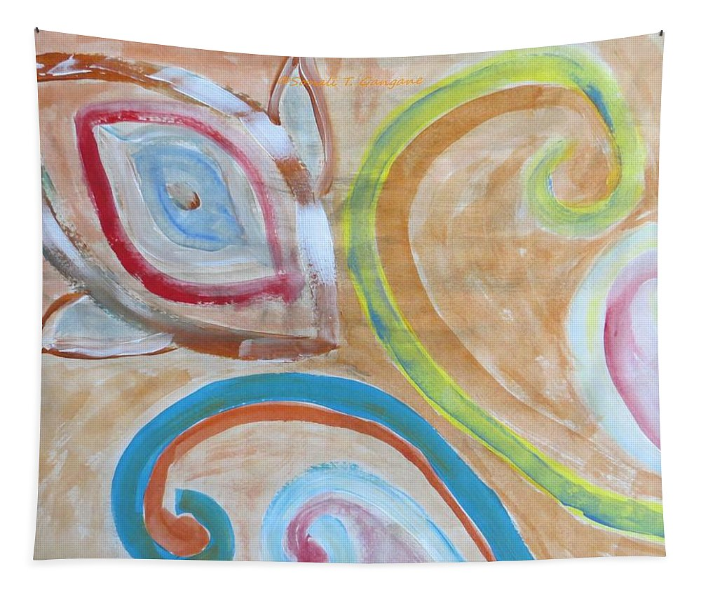 Spiral Floral Work With Strokes Of Acrylic Tapestry featuring the painting Thought by Sonali Gangane