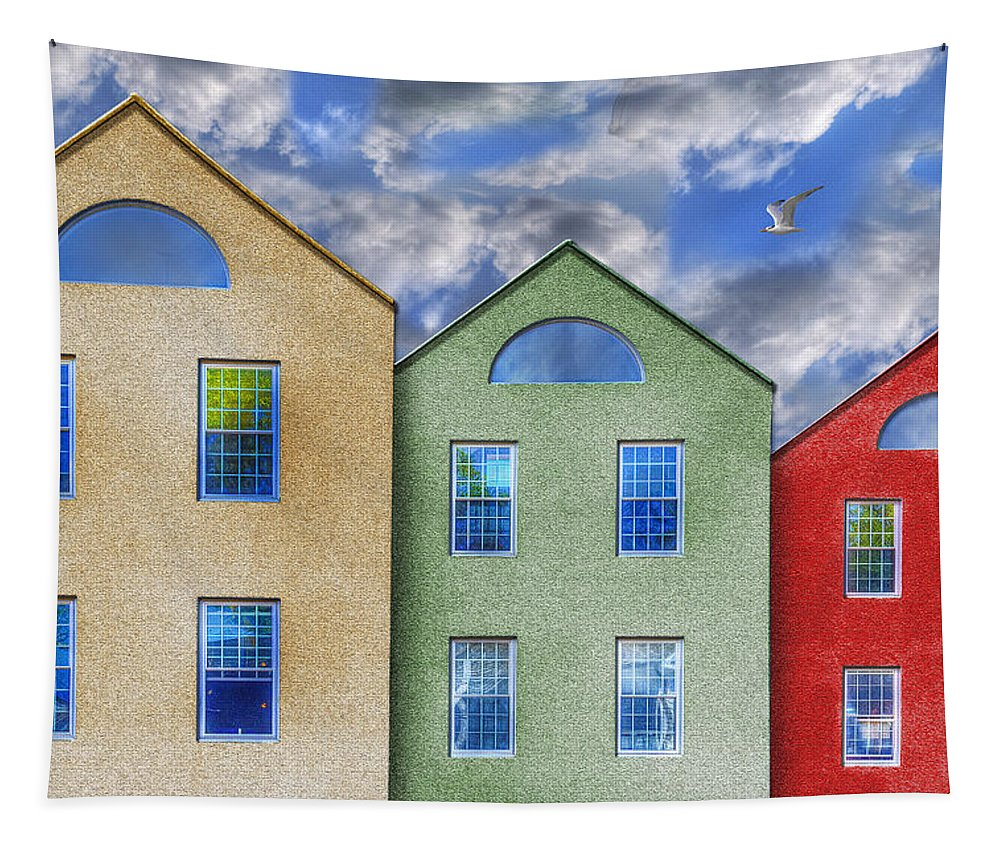 Photography Tapestry featuring the photograph Three Buildings And A Bird by Paul Wear