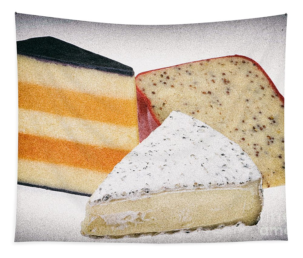 Food Tapestry featuring the photograph Three Cheese Wedges Distressed by Iris Richardson