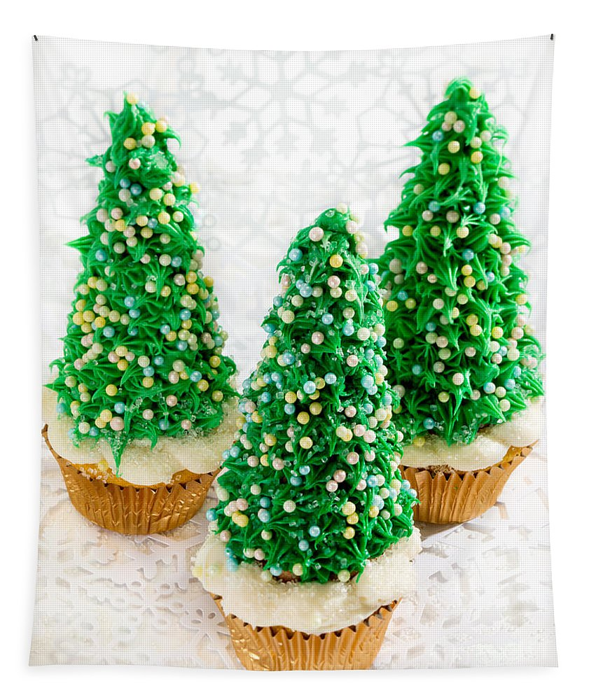 Christmas Tree Cupcakes Tapestry featuring the photograph Three Christmastree Cupcakes by Iris Richardson