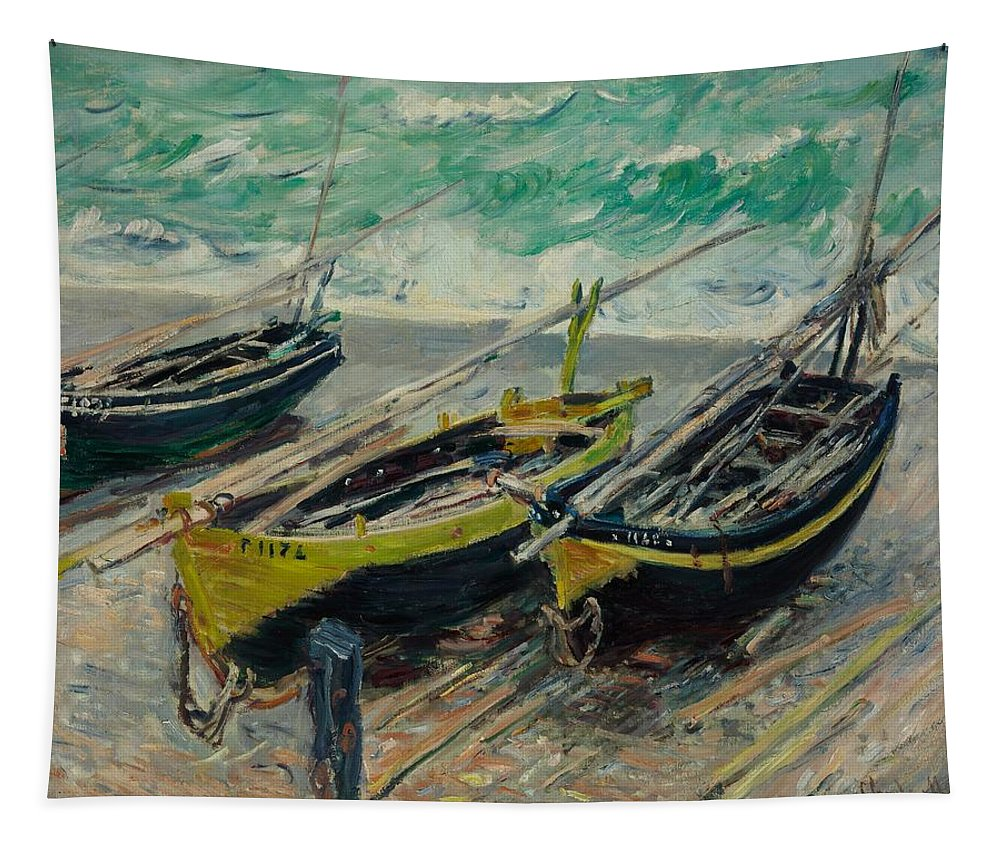 Monet Tapestry featuring the painting Three Fishing Boats Monet 1886 by Movie Poster Prints