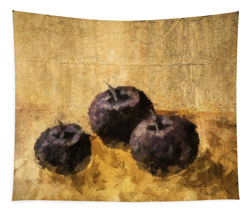 Plum Tapestry featuring the painting Three Plums Still Life by Michelle Calkins
