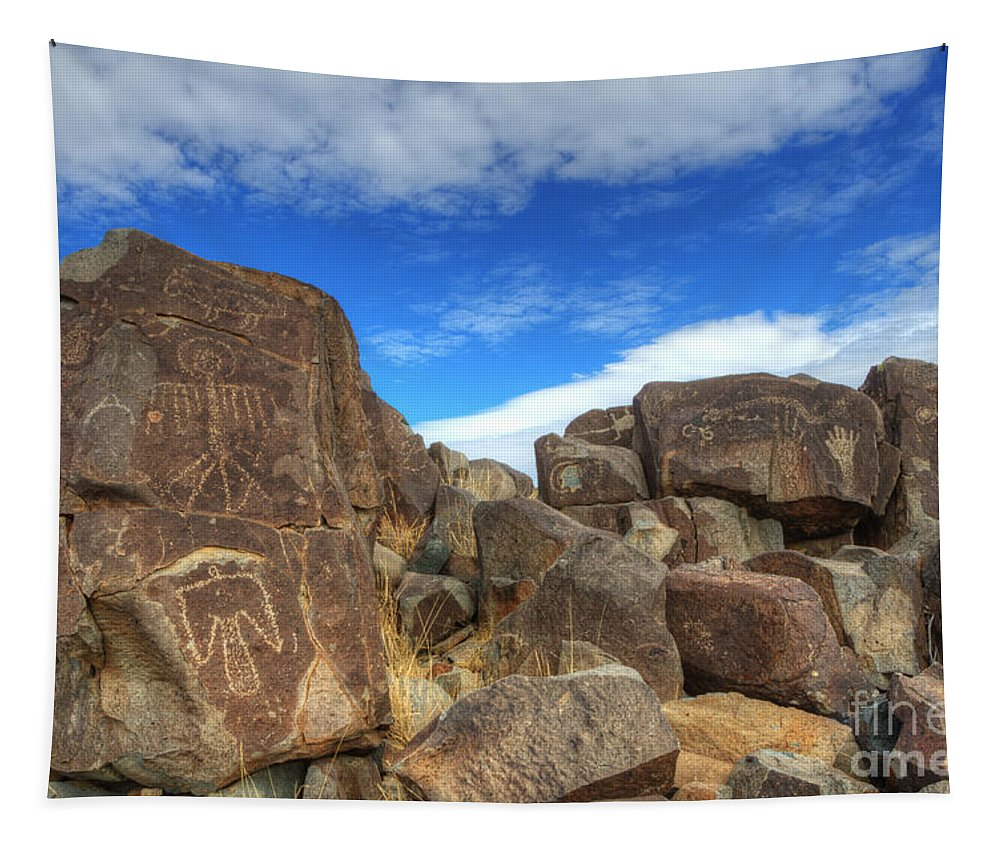 Three Rivers Tapestry featuring the photograph Three Rivers Petroglyphs 2 by Bob Christopher