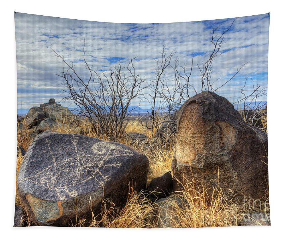 Three Rivers Tapestry featuring the photograph Three Rivers Petroglyphs 7 by Bob Christopher