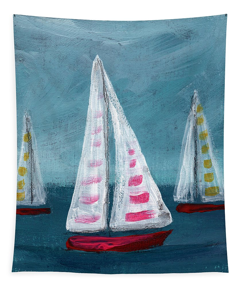 Boats Tapestry featuring the painting Three Sailboats by Linda Woods
