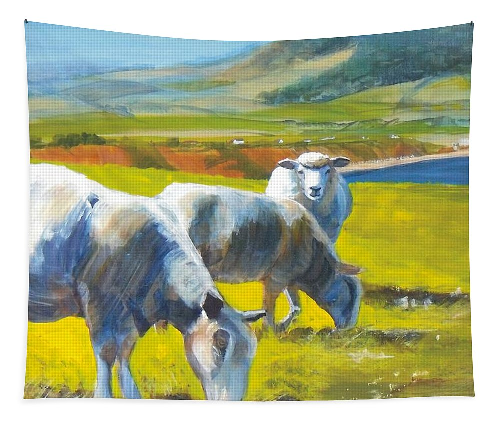 Sheep Tapestry featuring the painting Three Sheep On A Devon Cliff Top by Mike Jory