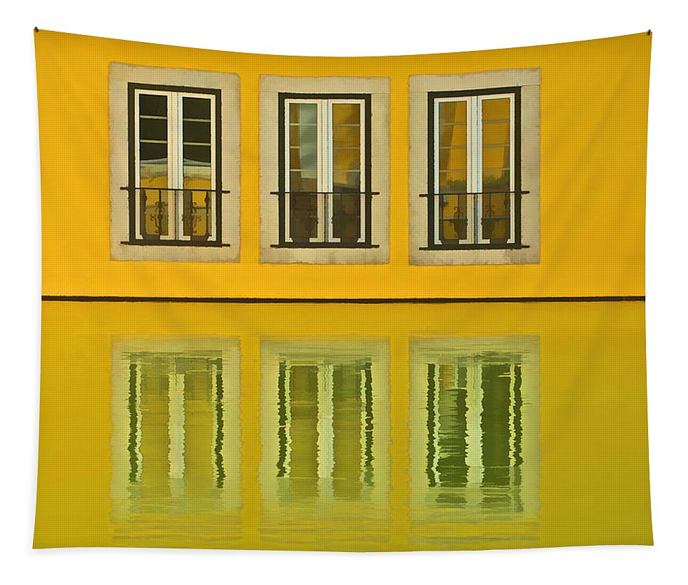 Balcony Tapestry featuring the photograph Three Windows Reflecting In The Water by David Letts