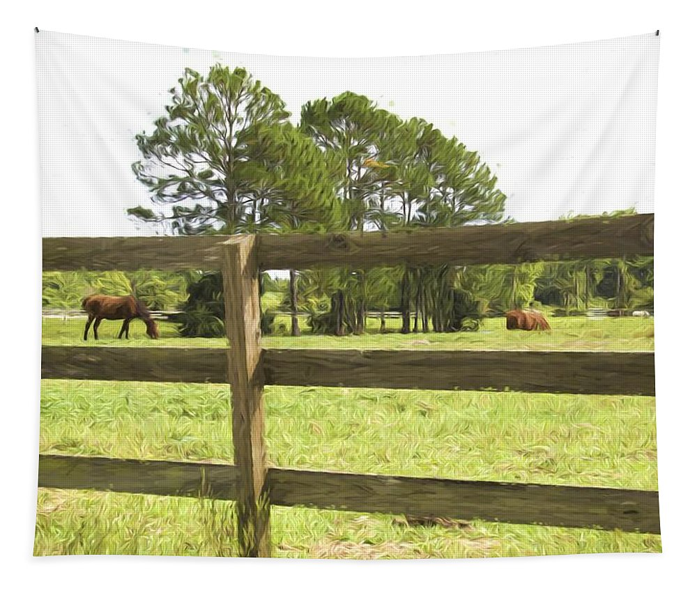 Fence Tapestry featuring the photograph Through The Fence by Alice Gipson