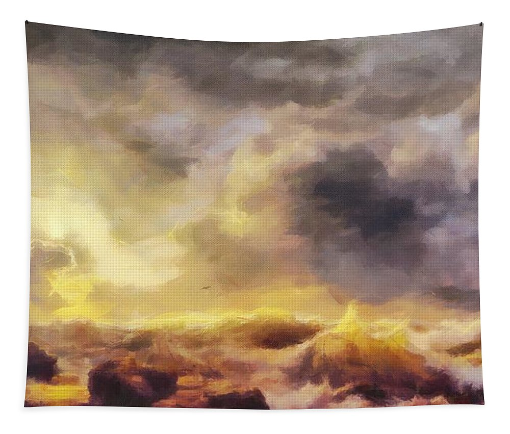 Through The Storm Tapestry featuring the painting Through The Storm by Dan Sproul