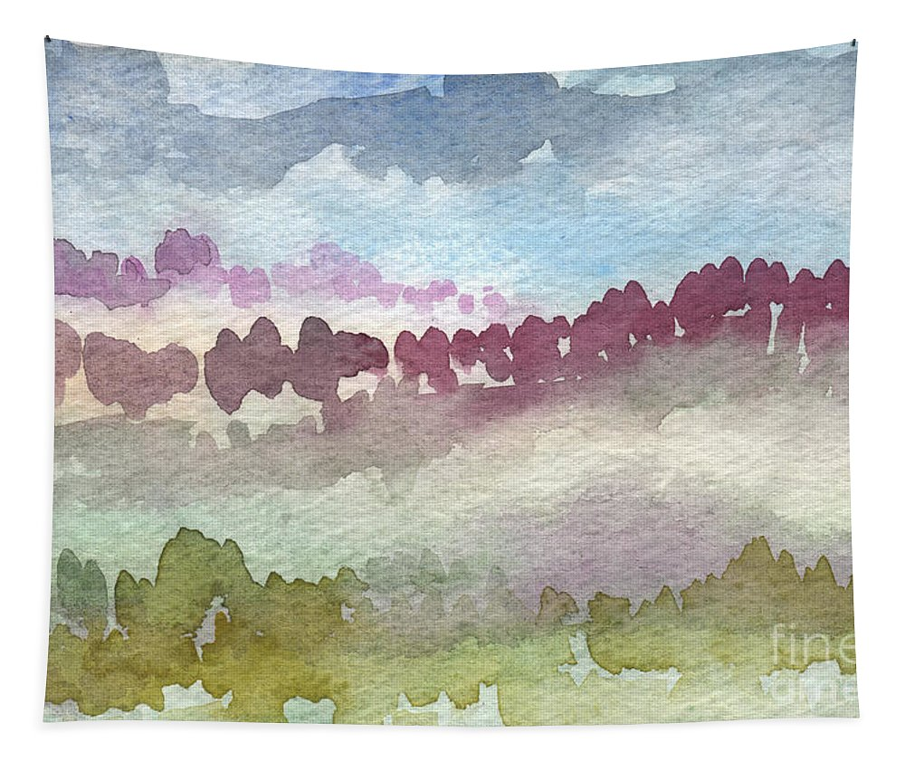 Abstract Landscape Tapestry featuring the painting Through The Trees by Linda Woods