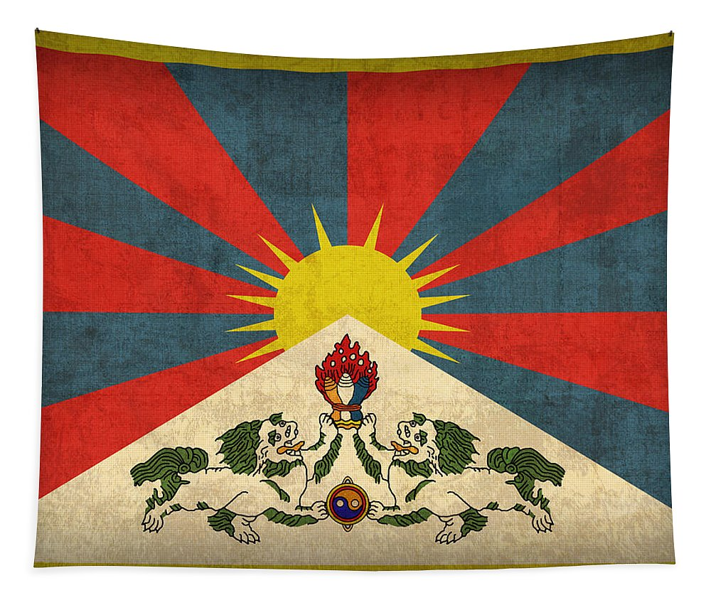 Tibet Tapestry featuring the mixed media Tibet Flag Vintage Distressed Finish by Design Turnpike