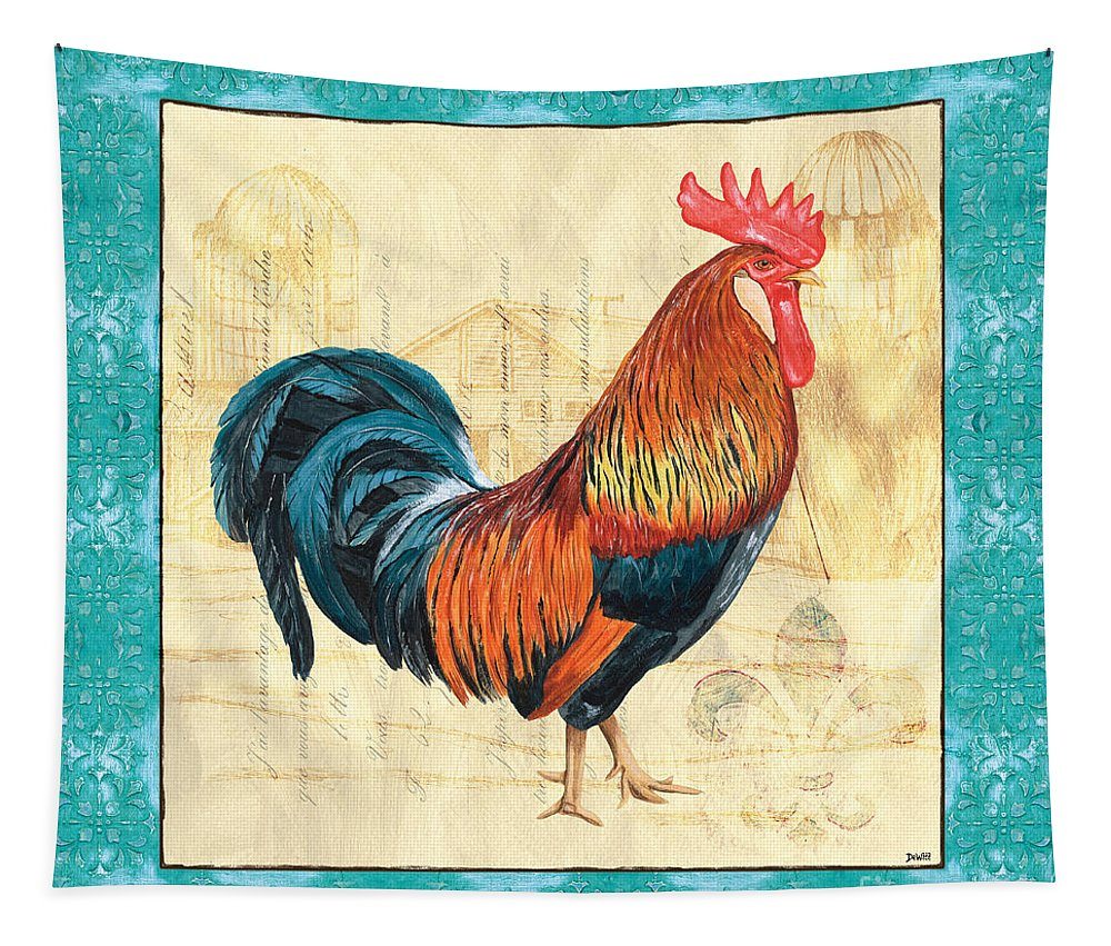 Roosters Tapestry featuring the painting Tiffany Rooster 1 by Debbie DeWitt