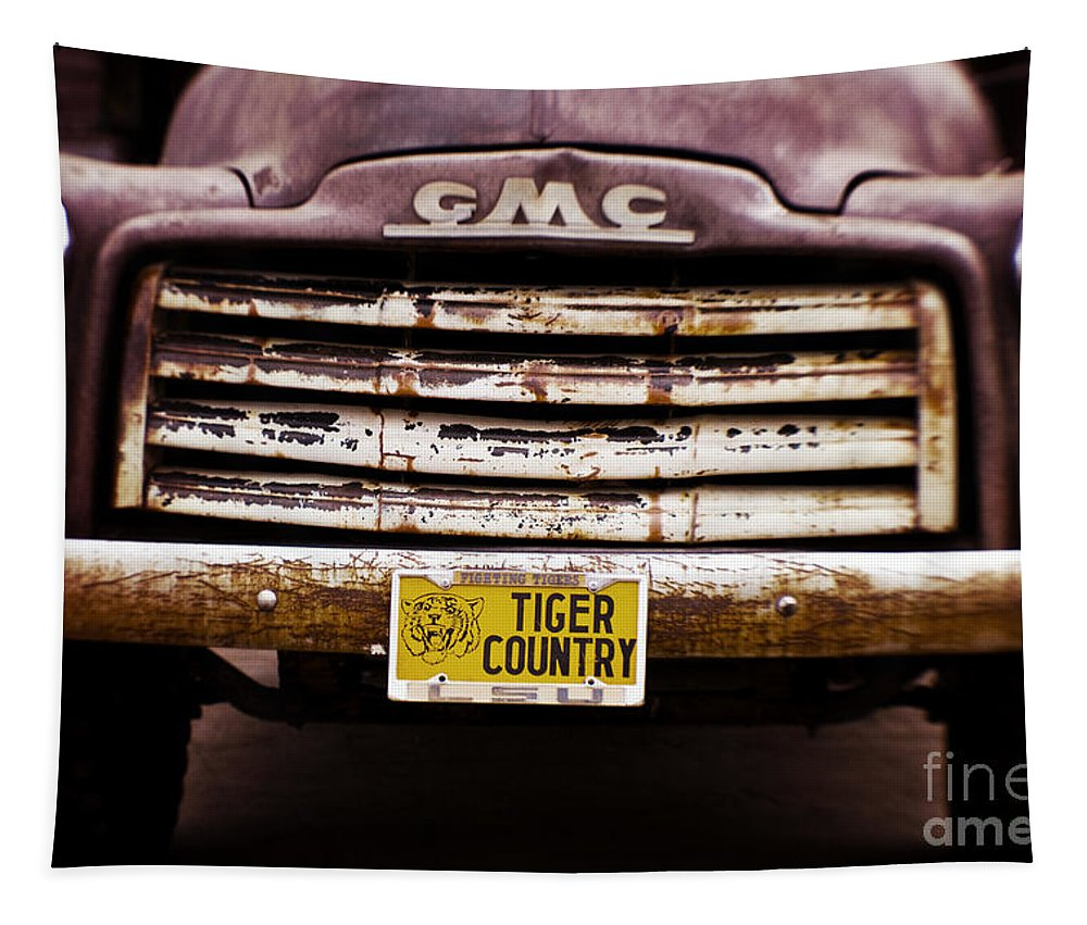 Lsu Tapestry featuring the photograph Tiger Country - Purple And Old by Scott Pellegrin