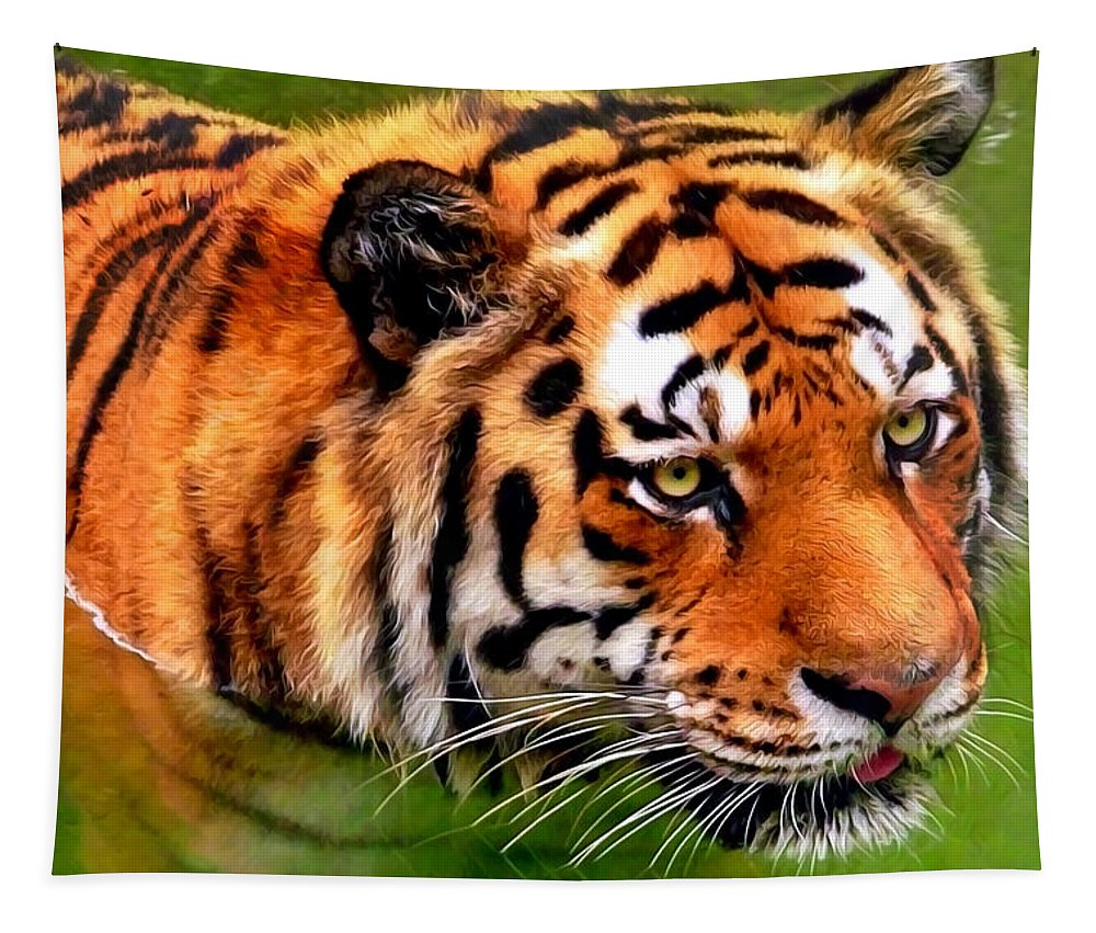 Bengal Tiger Tapestry featuring the mixed media Tiger Painting by Christina Rollo