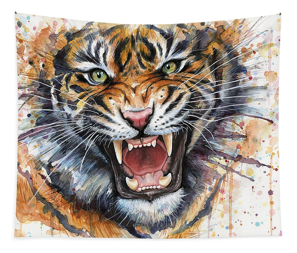 Watercolor Tapestry featuring the painting Tiger Watercolor Portrait by Olga Shvartsur