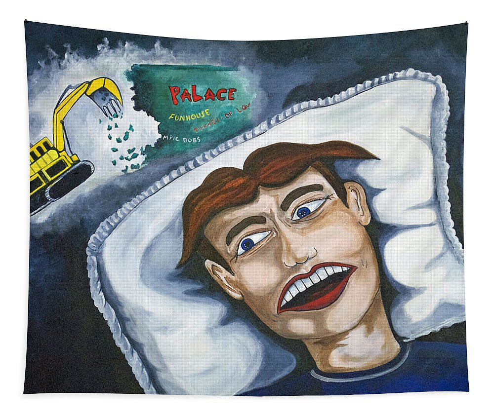 Asbury Park Tapestry featuring the painting Tillies Nightmare by Patricia Arroyo