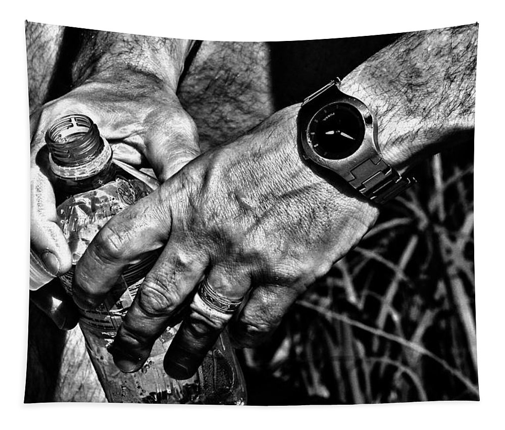 Hands Tapestry featuring the photograph Time For A Break by Karol Livote