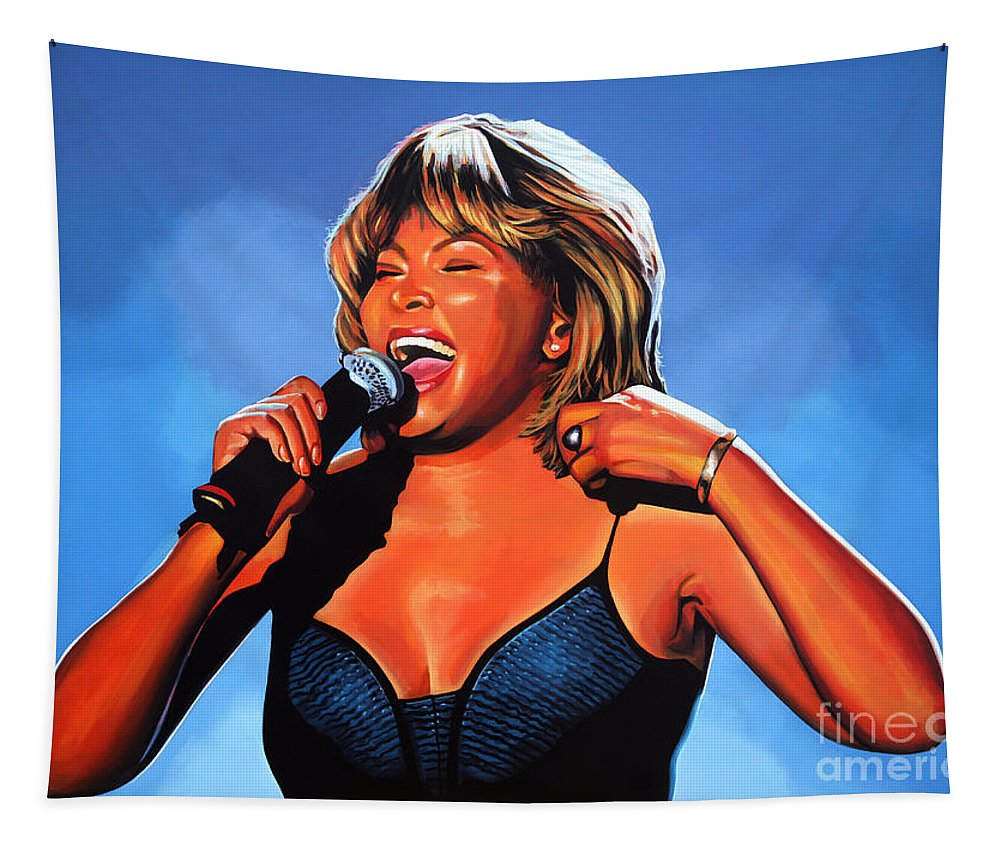 Tina Turner Tapestry featuring the painting Tina Turner Queen of Rock by Paul Meijering