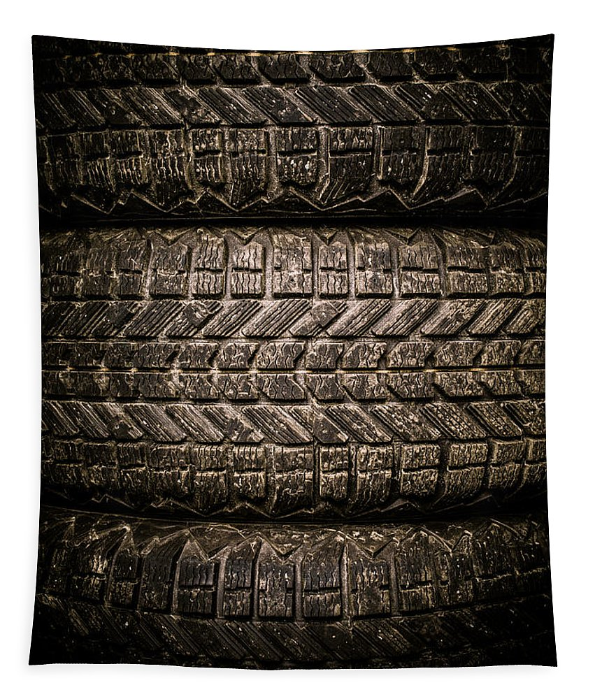 Dirt Tapestry featuring the photograph Tires by Edward Fielding