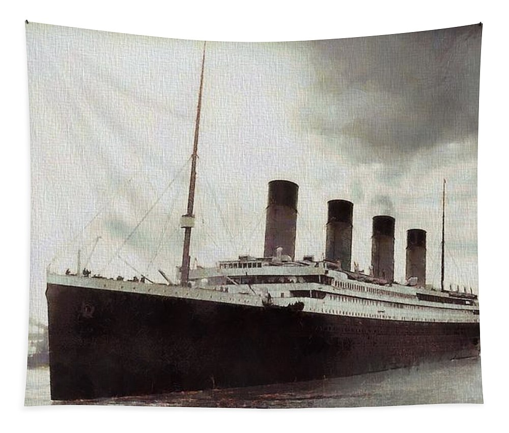 Titanic 1912 Vintage Tapestry featuring the digital art Titanic 1912 Vintage by Dan Sproul