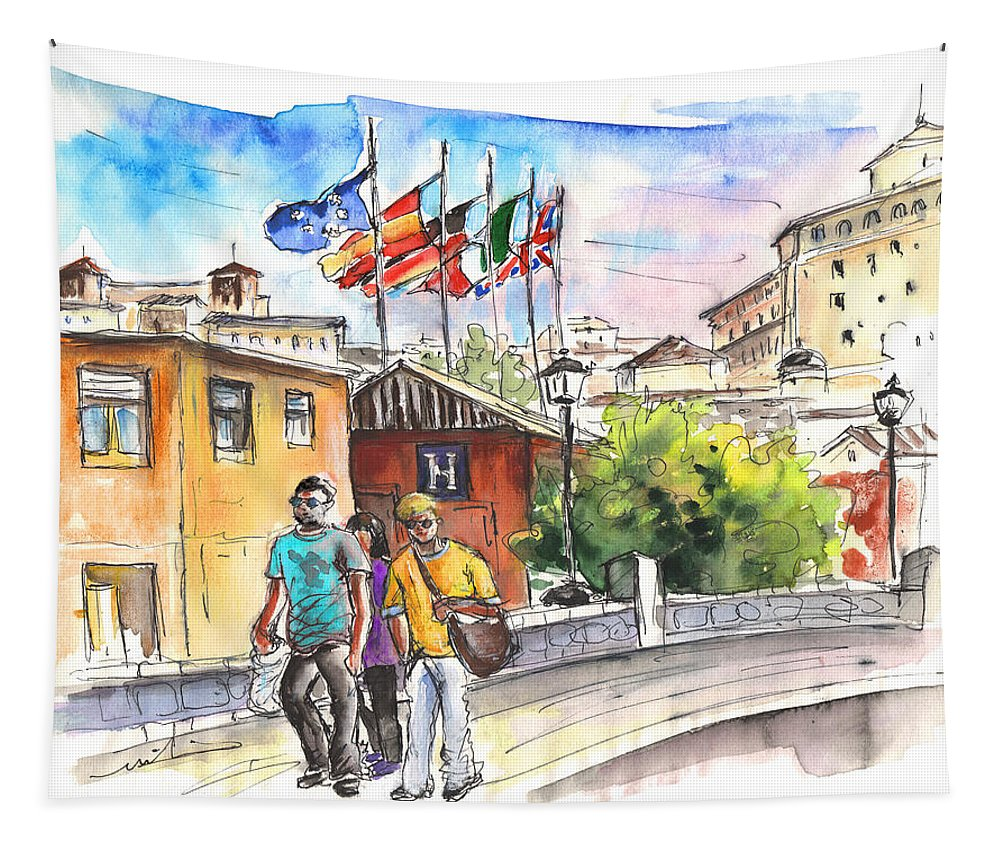 Travel Tapestry featuring the painting Toledo 04 by Miki De Goodaboom