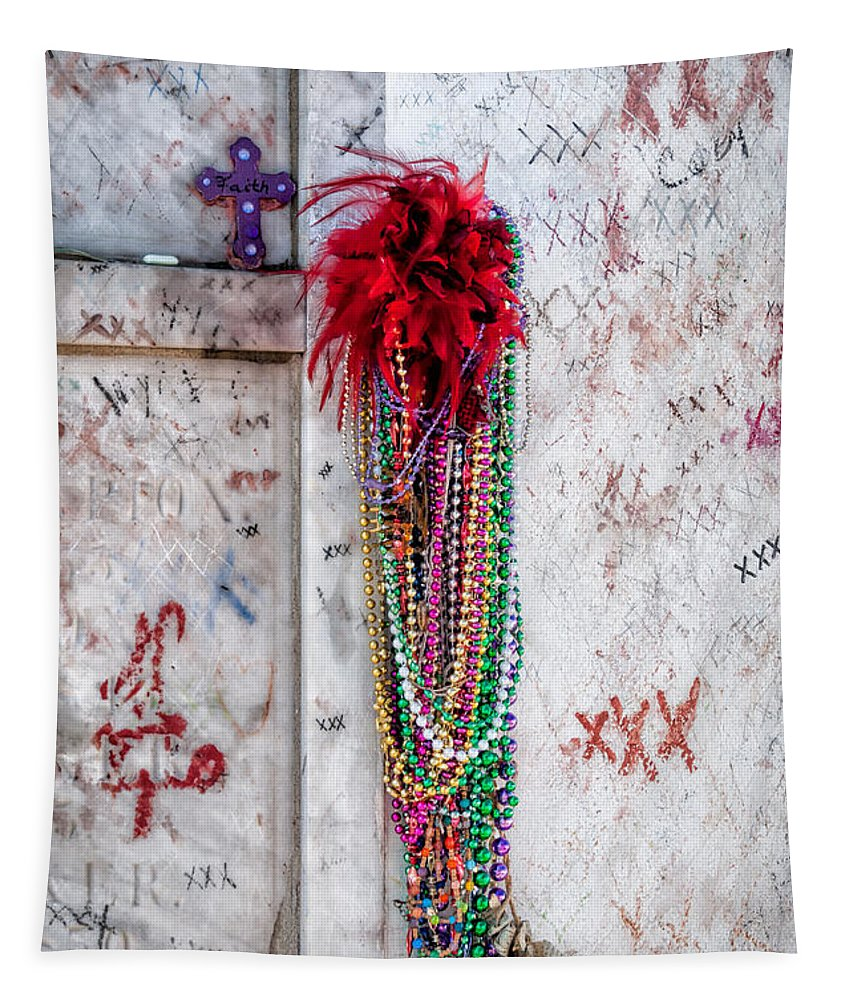 Marie Tapestry featuring the photograph Tomb Of Marie Laveau New Orleans by Kathleen K Parker