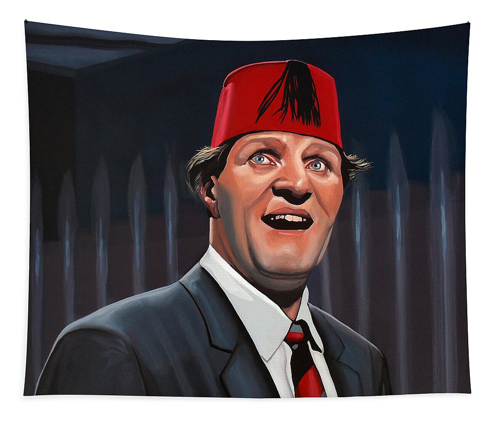 Tommy Cooper Tapestry featuring the painting Tommy Cooper by Paul Meijering