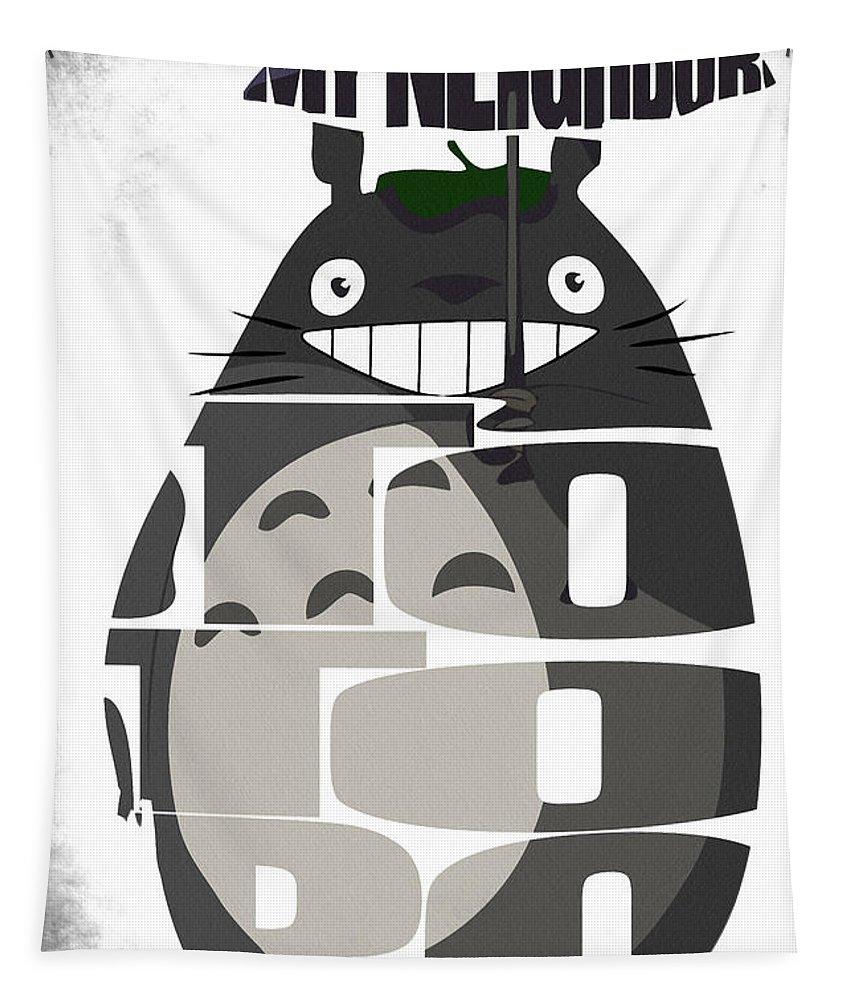 Totoro Tapestry featuring the digital art Tonari No Totoro - My Neighbor Totoro by Inspirowl Design